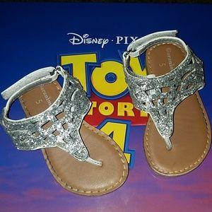 Toddler 5 Silver Glitter Sandals Girls Garanimals